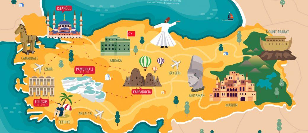 แผนที่ประเทศตุรกี ปักหมุดเมืองยอดนิยม